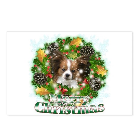 Merry Christmas Papillon Postcards (Package of 8)