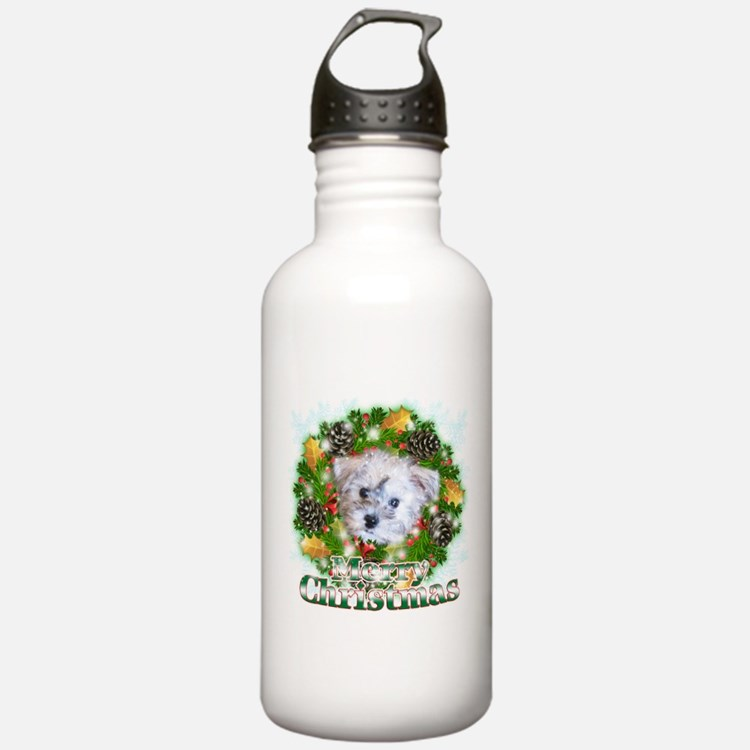 Merry Christmas Schnoodle Water Bottle