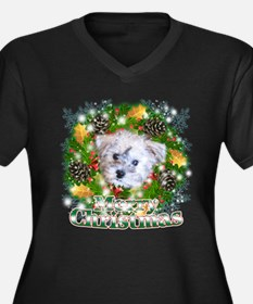 Merry Christmas Schnoodle Women's Plus Size V-Neck