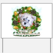 Merry Christmas Schnoodle Yard Sign