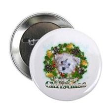 """Merry Christmas Schnoodle 2.25"""" Button"""