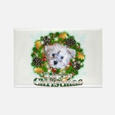 Merry Christmas Schnoodle Rectangle Magnet