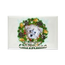 Merry Christmas Schnoodle Rectangle Magnet (100 pa
