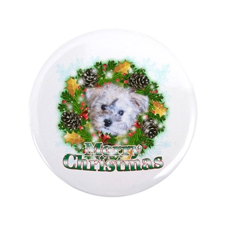 """Merry Christmas Schnoodle 3.5"""" Button"""