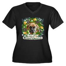 Merry Christmas Bull Mastiff Women's Plus Size V-N