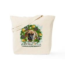 Merry Christmas Bull Mastiff Tote Bag