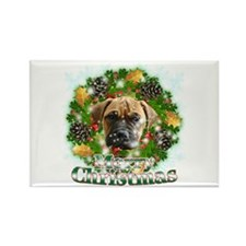 Merry Christmas Bull Mastiff Rectangle Magnet