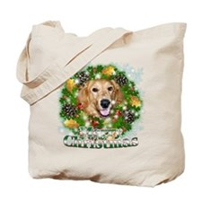 Merry Christmas Golden Retriever 2 Tote Bag