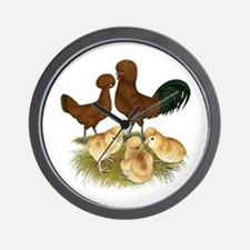 Red Polish Chickens Wall Clock