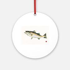 Striped Bass Gyotaku Ornament (Round)