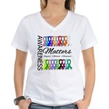 Cancer awareness Womens V-Neck T-shirts