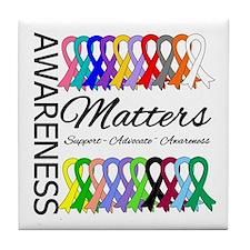 Awareness Matters Ribbons Tile Coaster