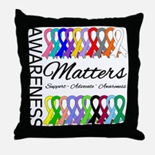 Awareness Matters Ribbons Throw Pillow