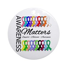Awareness Matters Ribbons Ornament (Round)