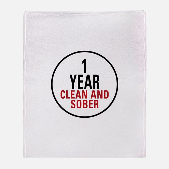 1 Year Clean & Sober Throw Blanket