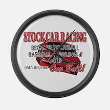 Stock Car Auto Racing Large Wall Clock