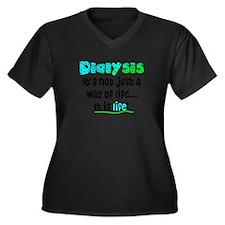 Dialysis Women's Plus Size V-Neck Dark T-Shirt