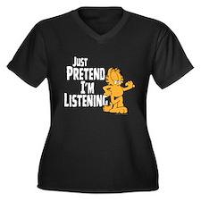 Just Pretend Women's Plus Size V-Neck Dark T-Shirt