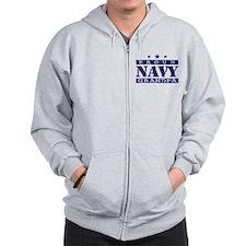 Proud Navy Grandpa Zip Hoodie