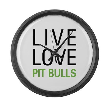 Live Love Pit Bulls Large Wall Clock