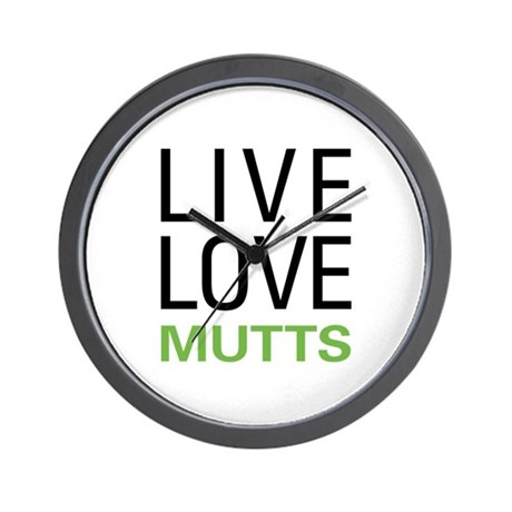 Live Love Mutts Wall Clock