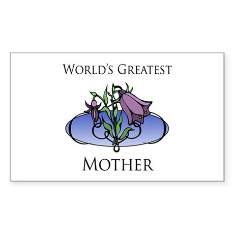 World's Greatest Mother (Floral) Sticker (Rectangl
