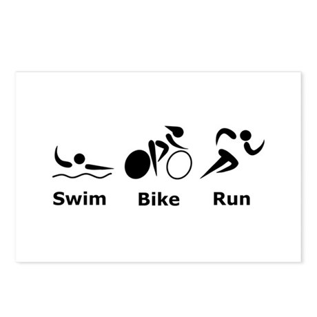Swim Bike Run Postcards (Package of 8)