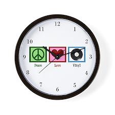 Peace Love Vinyl Wall Clock
