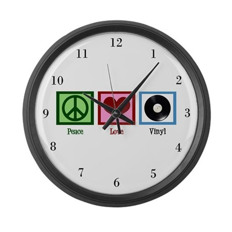 Peace Love Vinyl Large Wall Clock