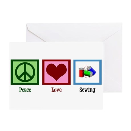 Peace Love Sewing Greeting Cards (Pk of 20)