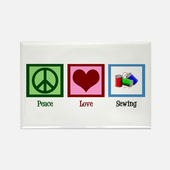 Peace Love Sewing Rectangle Magnet