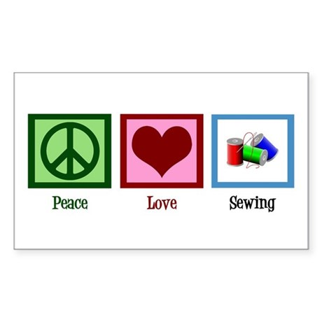 Peace Love Sewing Sticker (Rectangle)