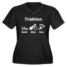 Triathlon Swim Bike Run Women's Plus Size V-Neck D