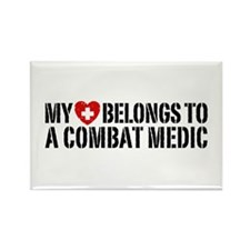My Heart Belongs To Combat Medic Rectangle Magnet