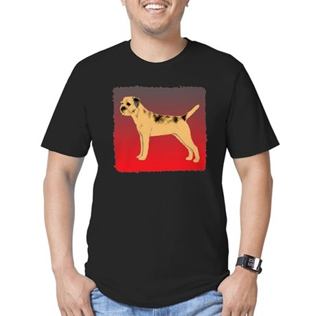 Border Terrier Men's Fitted T-Shirt (dark)
