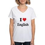I Heart English: Women's V-Neck T-Shirt