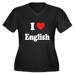 I Heart English: Women's Plus Size V-Neck Dark T-S
