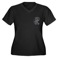 Black Poodle IAAM Pocket Women's Plus Size V-Neck