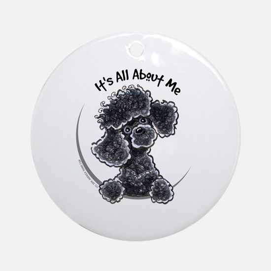 Black Poodle Lover Ornament (Round)