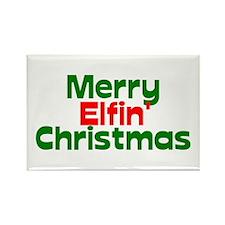 Merry Elfin' Christmas Rectangle Magnet