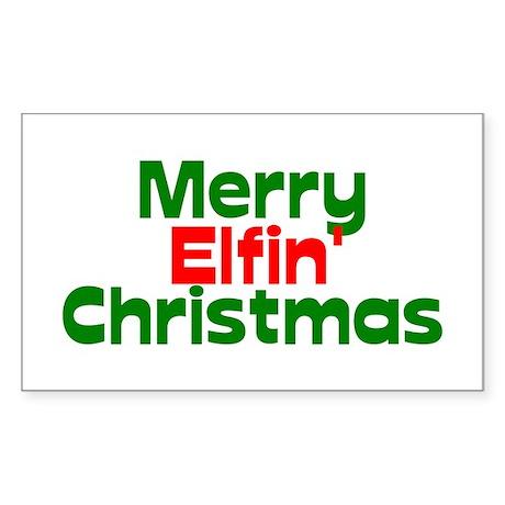 Merry Elfin' Christmas Sticker (Rectangle)