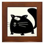 Cute Black Cat Framed Tile
