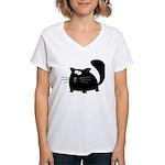 Cute Black Cat Women's V-Neck T-Shirt