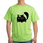 Cute Black Cat Green T-Shirt