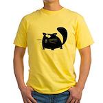 Cute Black Cat Yellow T-Shirt