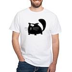 Cute Black Cat White T-Shirt