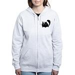 Cute Black Cat Women's Zip Hoodie