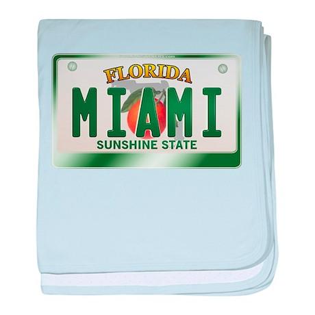 """MIAMI"" Florida License Plate baby blanket"
