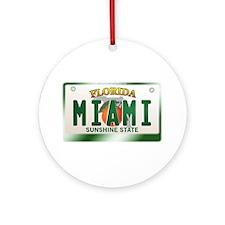 """""""MIAMI"""" Florida License Plate Ornament (Round)"""
