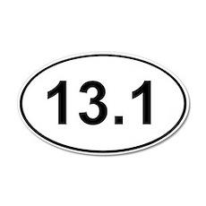 Half Marathon 13.1 White 20x12 Oval Wall Peel
